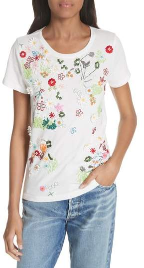 Alice + Olivia Rylyn Embellished Short Sleeve Tee