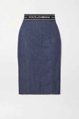 Dolce & Gabbana Paneled Denim And Stretch-jersey Skirt - Blue