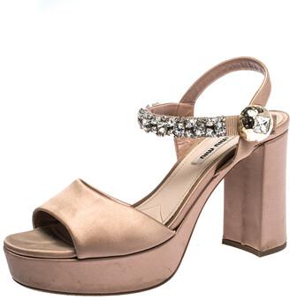 Miu Miu Beige Satin Crystal Embellished Ankle Strap Platform Block Heel Sandals Size 39