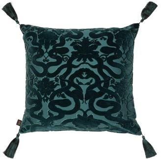 House of Hackney Anaconda Velvet-devore Cotton-blend Cushion - Dark Green