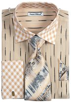 Sunrise Outlet Men's Check Pattern Two Tone French Cuff Shirt Cufflinks - 16.5 34-35