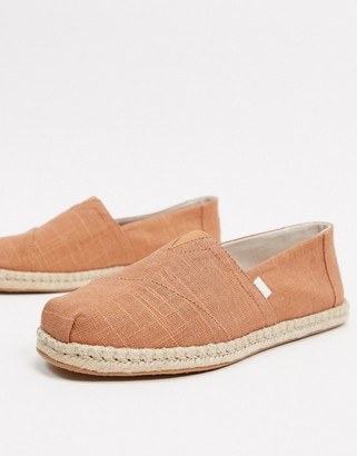Toms espadrilles in rust linen with rope detail