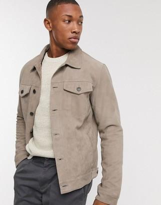 Selected suede western jacket in sand