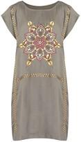 Fire Mandala Embroidered Boat-Necked Kaftan Dress