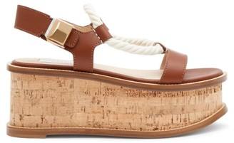 Gabriela Hearst Danae Cork-midsole Nappa-leather Flatform Sandals - Womens - Tan Multi