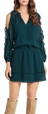 1 STATE Ruffled Cold Shoulder Dress