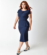 Stop Staring Plus Size 1940s Style Navy Fitted Timeless Wiggle Dress
