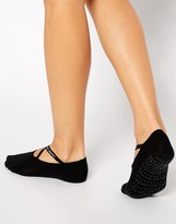 Calvin Klein Ballet Liner Socks with Criss Cross Elastic in Black