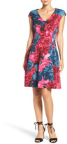 Maggy London Floral Jacquard Fit & Flare Dress