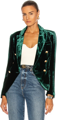 L'Agence Kenzie Double Breasted Blazer in Forest Green | FWRD