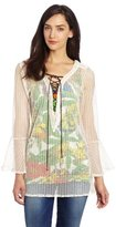 T-Bags Tbags Los Angeles Women's Crochet Lace Up Tunic Top