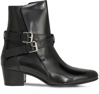 Amiri Buckle-detailed Patent-leather Ankle Boots
