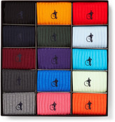 London Sock Co. - The Simply Sartorial 15-pack Ribbed Stretch Cotton-blend Socks