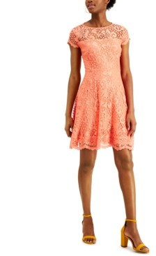 Kensie Floral-Lace Fit & Flare Dress