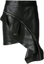 Saint Laurent asymmetrical ruffle skirt - women - Silk/Lamb Skin - 36