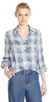 Tribal Women's Cotton Gauze Plaid Shirt with Roll Sleeve