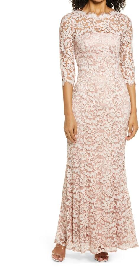 Eliza J Lace Bateau Neck Mermaid Gown