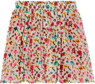 Mes Demoiselles Jerry Floral-print Devore-velvet Mini Skirt