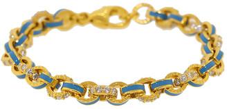 BUDDHA MAMA Sky Blue Enamel and Pave Diamond Link Bracelet