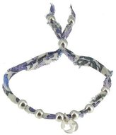 Les Poulettes Jewels - Bracelet Liberty Print with Sterling Silver Heart Medal and Beads- Lilac Color