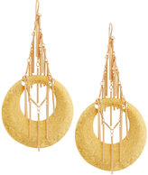 Devon Leigh Hammered Golden Fringed Hoop Drop Earrings