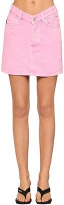 Balenciaga V Waist Cotton Denim Mini Skirt