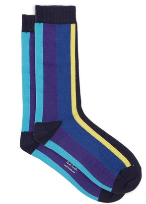 Paul Smith Omar Striped Cotton-blend Ankle Socks - Navy Multi