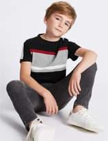 Marks and Spencer Pure Cotton Panel T-Shirt (3-14 Years)