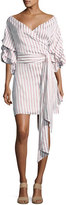 Alexis Maren Striped Off-the-Shoulder Wrap Dress