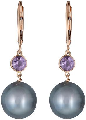 BELPEARL 14K Amethyst & 11-12Mm Tahitian Pearl Earrings