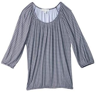 MICHAEL Michael Kors Size Cheeky Check Peasant Top (White) Women's Clothing