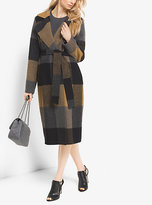 Michael Kors Plaid Wool-Blend Wrap Coat