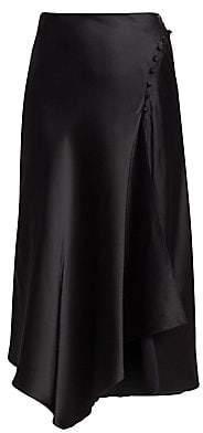 Jonathan Simkhai Women's Sateen Lingerie Lace-Front Skirt