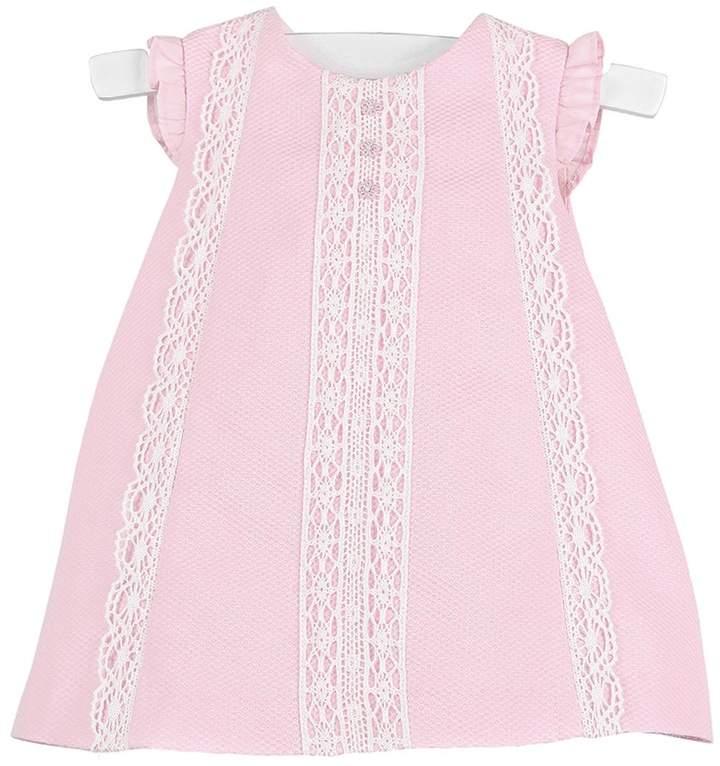 Luli & Me Pink-Pique & Lace Dress