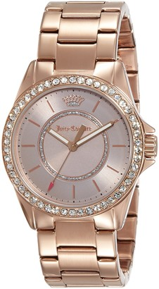 Juicy Couture Laguna Women's Quartz Watch with Black Dial Analogue Display and Gold Rose Gold Bracelet 1901410