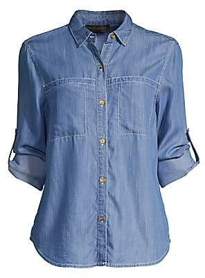 1affa54d Donna Karan Women's Roll-Tab Sleeve Overstitched Shirt