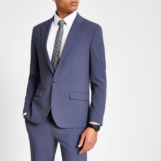 River Island Blue single breasted skinny fit suit jacket