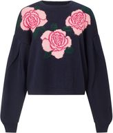 Miss Selfridge Navy Floral Intarsia Jumper