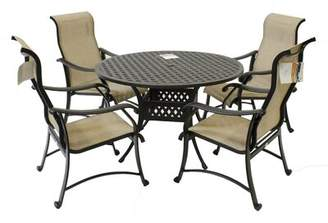 """Red Barrel Studio Pols 5-Piece Cast Aluminum Dining Set With 48"""" Round Table, 4 Chairs Red Barrel Studio"""