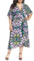 Melissa McCarthy Plus Size Women's Floral Twill Wrap Dress