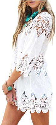 DNFC Beach Cover Up Women Cotton Lace Beachwear Cover Dress Top Ladies Bathing Suit Short Beach Crochet Wrap Summer Bikini Swimsuit Cover Up for Pool Swimming Holiday (White One Size)
