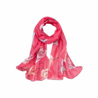Toamen Scarf Womens Scarf Toamen Chiffon Flower Printed Wrap Scarves