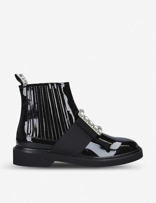 Roger Vivier Chelsea Viv Rangers Strass Buckle leather ankle boots