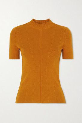 Oscar de la Renta Ribbed Silk-blend Sweater - Orange