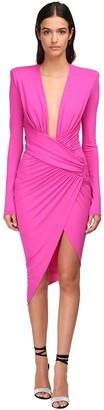 Alexandre Vauthier V Neck Draped Stretch Jersey Midi Dress