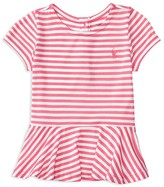 Ralph Lauren Infant Girls' Jersey Stripe Peplum Tee - Sizes 6-24 Months