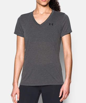 Under Armour Women's Tee Shirts CARBON - Carbon Heather ThreadborneTM Train V-Neck Tee - Women