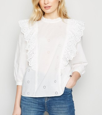 New Look Broderie Frill Trim Top