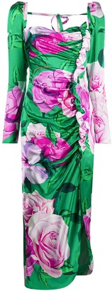 Giuseppe di Morabito Ruched Floral-Print Maxi Dress