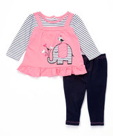 Buster Brown Sachet Pink & Bright White Elephant Top & Leggings